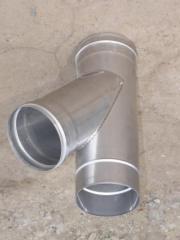Тройник из нержавеющей стали: 45 0,8мм, диаметр (ф120)