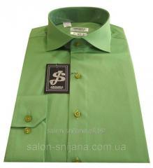 Мужская рубашка приталенная из сатина №10-12 А -