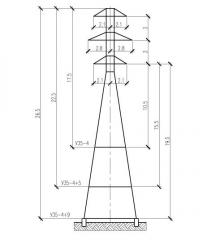 Решетчатая опора ВЛ 35кВ У35-4
