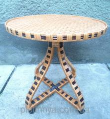 Coffee table on rollers wattled of a rod