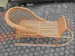 Children's wattled sledge from a rod
