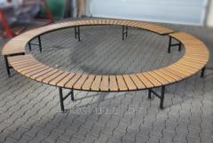 Лавка садово-парковая без спинки круглая №6