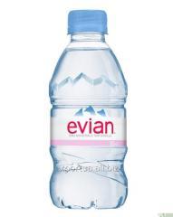 Agua mineral Evian (Evian) 0,33 litros, sin gas,