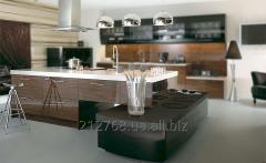 Белая столешница для большого кухонного острова