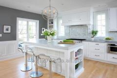 Мраморная акриловая столешница на кухонный остров
