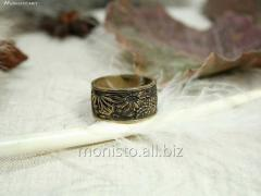 Aster ring wide. Bronze.