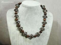 Necklace with wooden beads