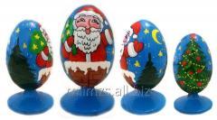 El huevo Santa de madera and Snowman - 1