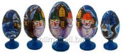 El huevo Santa de madera and Snowman - 11