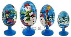 El huevo Santa de madera and Snowman - 16