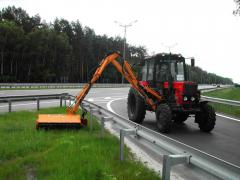 Set of the hinged equipment for the maintenance of road situation. Hinged manipulyatorny mowers