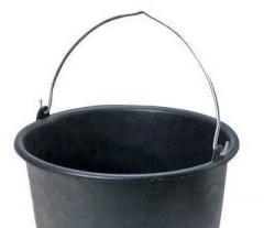 The bucket is metal black