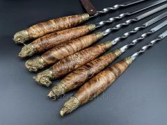Шампура Дикое поле с деревянными ручками в кожаном колчане 6шт