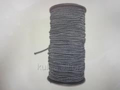 Резинка шляпная плотная черно-белая 2.8 мм