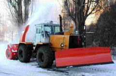 The snowplow is frezernorotorny. Means of mechanization for winter road maintenance