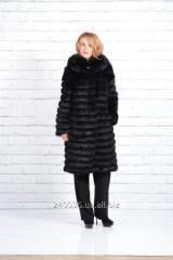 Fur coat from a crawl black, long with a hood