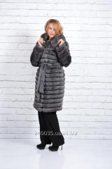 Fur coat from a crawl long with a hood