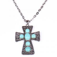 Cross with a chain SS12020 turquoise