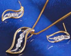 Bend set gilding: earrings, pendent, GF429 chain