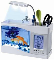 Desktop USB aquarium with hours and the