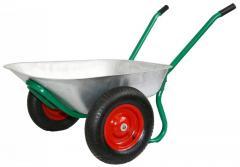 The wheelbarrow is garden 2-wheeled