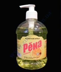 The Pena 450 liquid soap of a lemon with the batcher