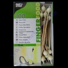 Skewers black and white balls of 10 cm 100 pieces bamb
