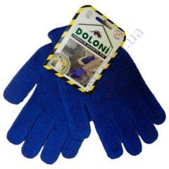 Перчатки 646 синие ладошка-нанесение ПВХ синее