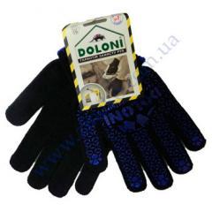 Перчатки 667 черные ладошка-нанесение ПВХ синее