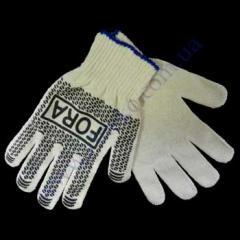 Перчатки Fora серые ладошка-нанесение ПВХ черное