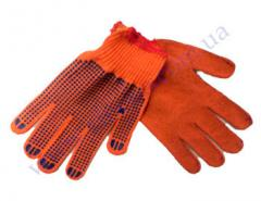 P-10k105 gloves oranzh % HB-100 knitted palm point 3 threads