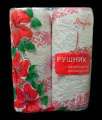 Полотенце бумажные Марго с рисунком Вышиванка 2сл 2рул белые цел