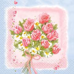 Салфетка 33х33 букет на розовом 20 шт