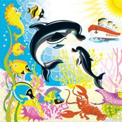 Салфетка 33х33 Дельфины 20шт