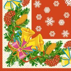 Салфетка 33х33 Звоночки красные 20шт