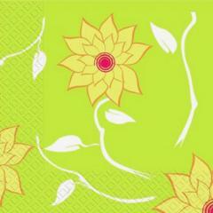 Салфетка 33х33 зелені квіти 20шт