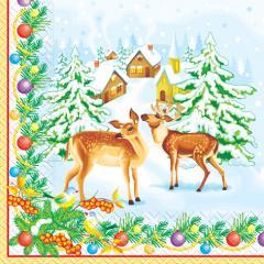 Салфетка 33х33 Зимние олени 20шт