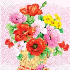 Салфетка 33х33 корзина цветов 20шт
