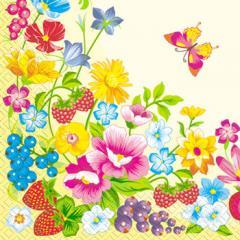 Салфетка 33х33 летние цветы 20шт