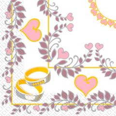 Napkin 33х33 Wedding rings of 20 pieces