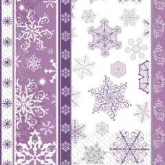 Салфетка 33х33 Снежинки фиолетовые 20шт