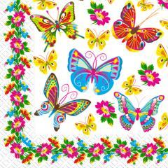 Салфетка 33х33 Цветные бабочки 20шт