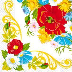 Салфетка 33х33 Цветочная рамочка 20шт