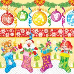 Napkin 33х33 Cheerful New Year packing of 20 pieces.