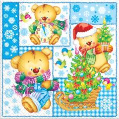 Napkin 33х33 New Year's bears packing of 20 pieces.
