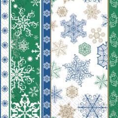 Napkin 33х33 Snowflakes green packing of 20 pieces.