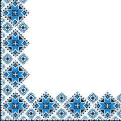 Салфетка 24х24 3-х слойные Марго Вишиванка синий орнамент