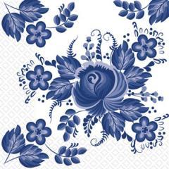Салфетка 24х24 3-х слойные Марго цветы синие Гжель