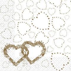Салфетка 33х33 свадебная Два сердца 3-х сл.Марго 50шт рис. золот