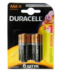 Батарейка алкалиновая Duracell Basic AAА 1.5V LR03 5шт+1 б/к Бел
